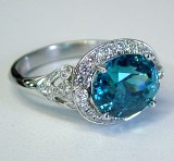 Blue zircon diamonds 18kt white gold 6.71cttw Philip Zahm Design ring model 20998