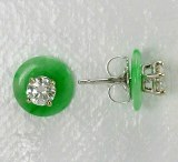 Earring Jackets Green Jade 8mm
