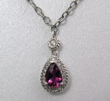 Tourmaline Diamond Pendant 14k