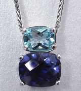 Topaz and Iolite Pendant 18ktw