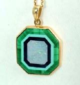 Opal Malachite Pendant 14kty