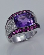 Amethyst diamond sapphire ring 18ktw gold 4.98cttw model 268-R619