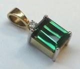 Green tourmaline pendant 7.62 carat 18kt/plat model 273-8010