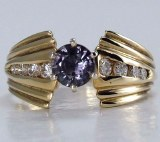 Sapphire and diamond ring 14kt yellow gold 1.05cttw