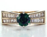 Emerald diamond ring 14kt yellow gold 1.31cttw