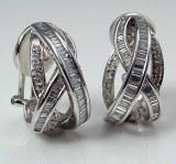 Diamond hoop earrings 18kt white gold 2.25cttw F VS