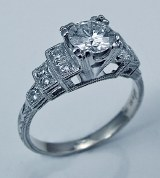 Diamond engagement ring 18ktw gold .95cttw .71 ct ctr G SI2 model 315-4873D