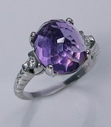 Amethyst and diamond ring 18kt white gold 5.14cttw model 315-5142