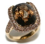 Smoky quartz and diamond 18kt yellow gold 9.72ct quartz 2.26cttw diamonds