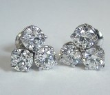 Diamond earrings 3 stone 3.00 cttw model 441-001