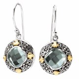 Eleganza Sterling Silver Green Amethyst Earrings model 720294