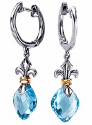 Eleganza Sterling Silver Blue Topaz Earrings model 720305
