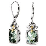 Eleganza Sterling Silver Green Amethyst Earrings model 720307