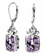 Eleganza Sterling Silver Amethyst Earrings model 720313