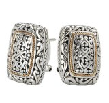 Eleganza Sterling Silver Two Tone Earrings model 720323