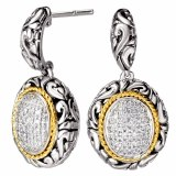 Eleganza Sterling Silver Earrings Gold Accent Pave Diamonds model 720371