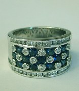 Sapphire and diamond ring 18ktw gold 1.00cttw