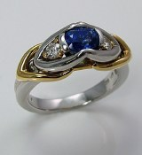 Sapphire diamond ring platinum 18kty gold ring 1.20cttw