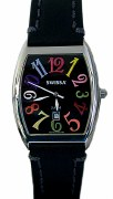 Swissa Unisex A5276W-RBW/MS Rainbow Cosmopolitan Collection Black Dial Watch