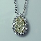 Yellow diamond pendant 2.65cttw 14kt white gold