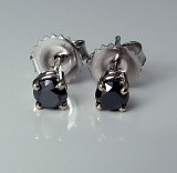 Black Diamond Stud Earrings 0.70cttw