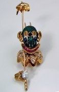 Clown pin 18kty gold 1.20cttw diamonds rubies