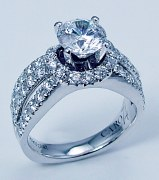 Caro 74 Engagement ring 14ktw and platinum 1.29cttw CR132W