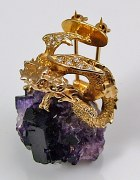 Dragon pin 14kty gold .42cttw 18 rd diamonds amethyst quartz