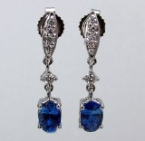 Sapphire and diamond earrings 18kt white gold 1.23cttw