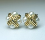 Pearl and 18kt yellow gold earrings model L-8EA5MM