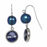 Seattle Seahawk Jewelry officially licensed NFL pearl drop earrings with logo NFE7559SE