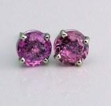 Pink sapphire earrings 14ktw 2.13cttw