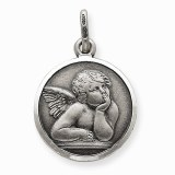 Angel pendant sterling silver 16mm round