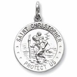 St Christopher medal sterling silver 18mm round
