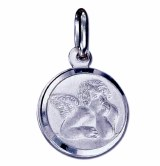 Angel charm pendant sterling silver 18mm round