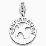 Confirmation pendant charm sterling silver 19mm round