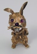 Rabbit pin 14kty gold .58cttw 2 rubies 12 rnd diamonds