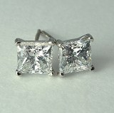Diamond Stud Earrings Princess Cut 2.00cttw F SI1 SI2