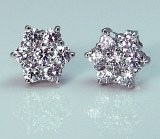 Diamond cluster earrings 14ktw 1.09cttw FG VS