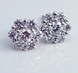 Diamond cluster earrings 14ktw 1.50cttw F VS