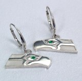 Seahawk Women's sterling silver emerald earrings SWE0889
