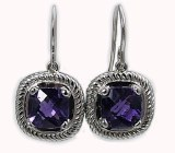 Amethyst earrings 18kt white gold dangles