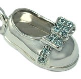 Baby Shoe Girl 18ktw Blue Zirc