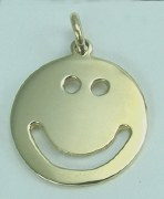 Happy Face Charm Pendant 14kty