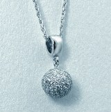 Pave Diamond Ball Pendant 14kt