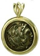 Silver Coin 14kty Gold Pendant