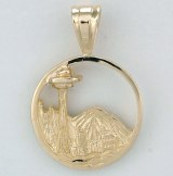 Seattle charm with city and Mt. Rainier 14kty gold model SWP0850