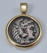 Head of young Hercules silver Macedon coin certified.