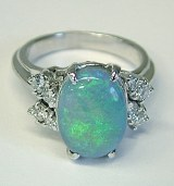 Opal and diamond ring 3.05cttw 18kt whtite gold model SWR-104-09