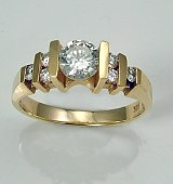 Diamond engagement ring 14kty gold .70cttw .52ct center G SI1